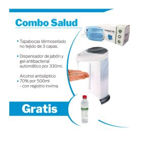 Combo SAT Alcohol+Tapabocas 3A+Dispensador Jabon