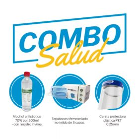 Combo SAT Alcohol500Ml+Tapabocas 3A+Careta